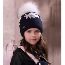 """Шапка зимняя темно-синяя для девочек с помпоном и завязками """"Стефания"""""""