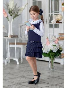 """Сарафан синего цвета с трехъярусной юбкой плиссе """"Хельга"""""""