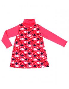 """Платье с длинным рукавом кораллового цвета """"инь-янь"""""""