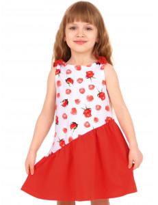 """Сарафан для девочки комбинированный красного цвета """"Лепестки роз"""""""