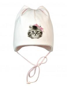 """Шапочка для малышей розового цвета """"кошачьи ушки"""""""