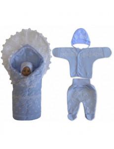 Комплект на выписку кружевной голубой «Очаровашка», летний