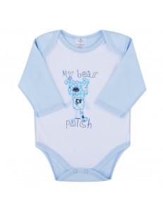 Боди голубого цвета для малышей с мишкой