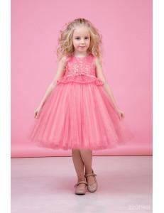 """Платье нарядное клубнично-розового цвета с многослойной юбкой и кружевом """"Тюльпан"""""""