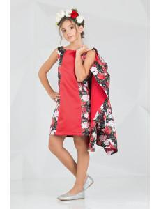 """Комплект красного цвета платье и пальто """"Брайт лук"""""""