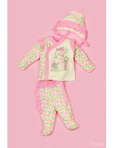 """Комплект на выписку для новорожденного розового цвета """"Сердечки"""""""