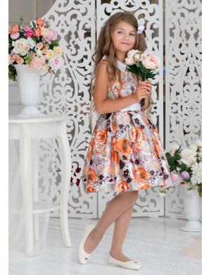 Платье нарядное с оранжевыми цветами Меган